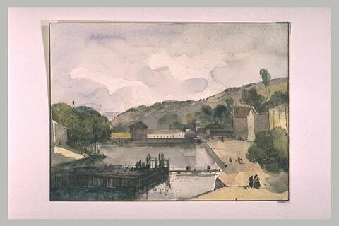 Un canal avec écluse ; des maisons et des figures
