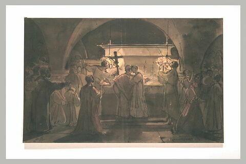 Chrétiens surpris célébrant la messe dans les catacombes