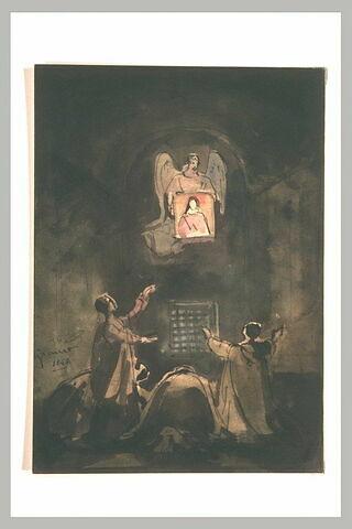 Un ange apporte l'image de la Vierge à quatre fidèles en prison