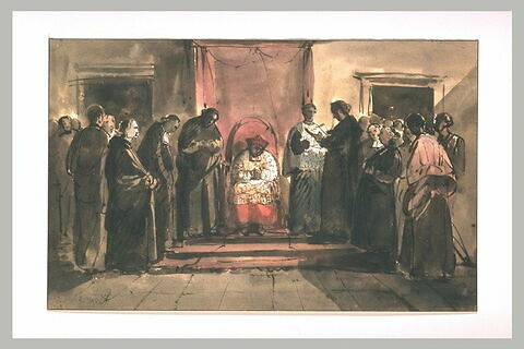 Un cardinal assis sous un dais entouré de religieux de différents ordres