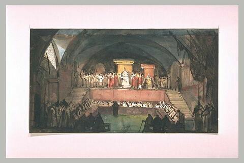 Cérémonie pontificale dans l'église souterraine d'un monastère à Rome