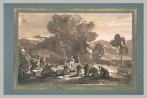 Des pèlerins sur les bords du Jourdain, entendant la messe