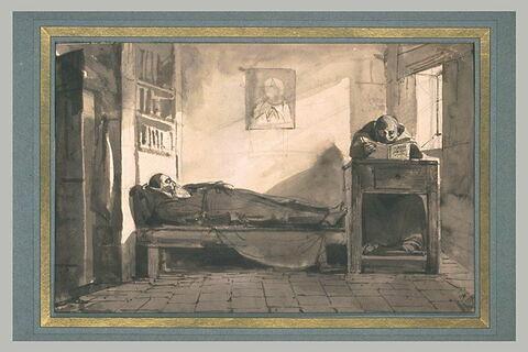 Un capucin dormant sur son lit et un moine lisant près d'une fenêtre
