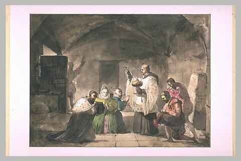 La communion d'un magistrat prisonnier et deux femmes agenouillées
