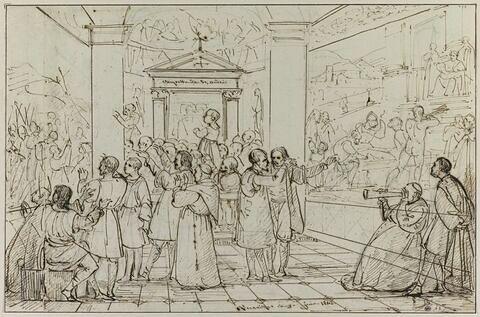 Poussin et diverses figures devant des oeuvres du Guide et du Dominiquin