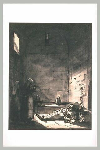 Deux religieuses apportent des provisions à un prisonnier étendu