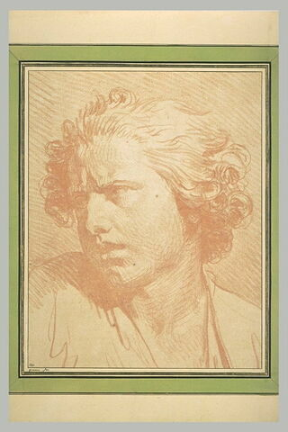 Jeune homme, vu en buste, la tête tournée vers la gauche