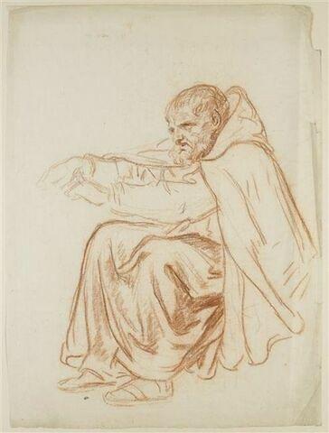 Un moine assis couvert d'un manteau, les bras tendus vers la gauche