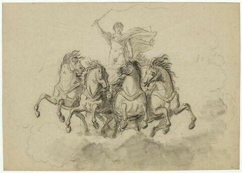 Apollon conduisant un char sur des nuées, traîné par quatre chevaux, vu de face