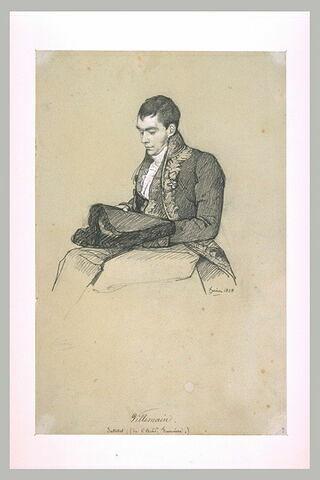 M. Villemain assis, en costume d'académicien