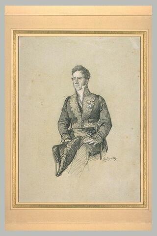La baron Desnoyers, graveur, en costume d'académicien, assis