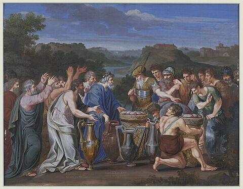 Melchisédech offre le pain et le vin à Abraham