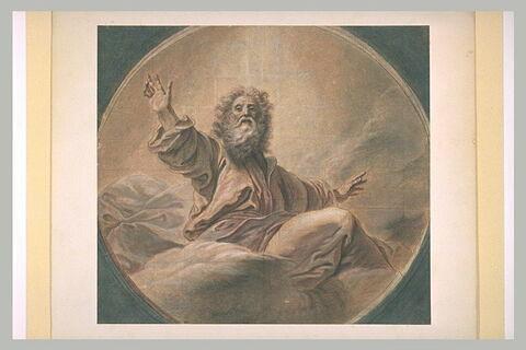 Le Père Eternel assis sur les nuages et vu de face