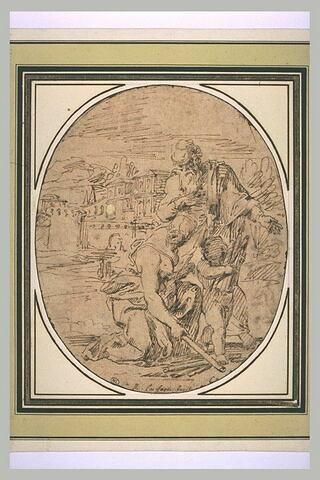 Un vieillard dedout, une jeune femme à genoux et un enfant portant du bois