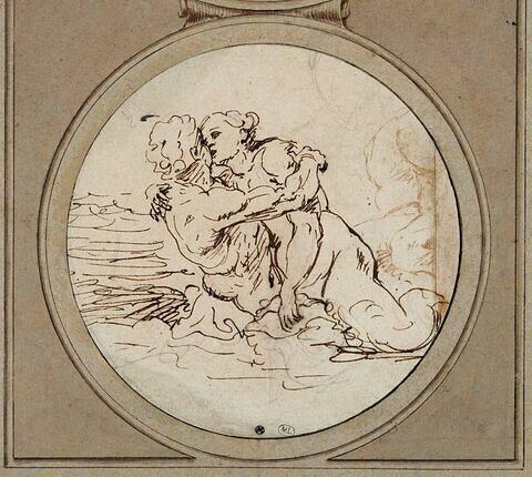 Un triton et une sirène s'embrassant