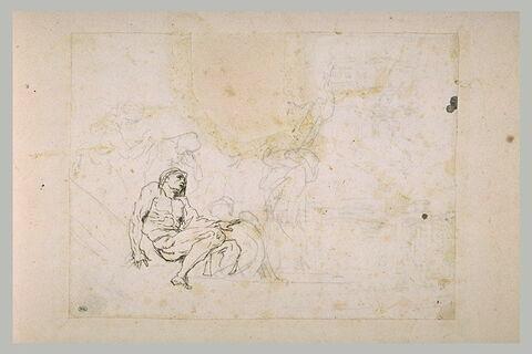 Un homme nu assis entouré par d'autres figures