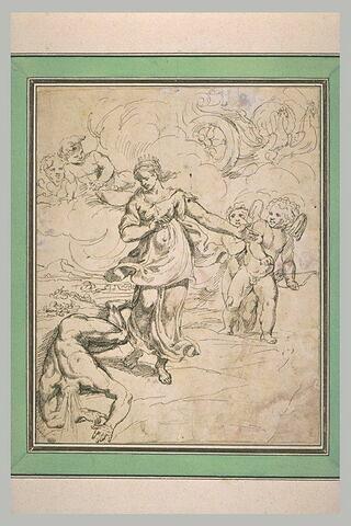 Junon regarde le corps d'Argus à qui Mercure a coupé la tête