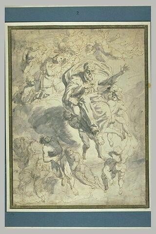 Dieu porté par des anges et entouré d'archanges