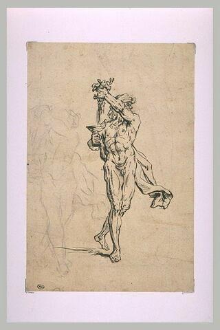 Bacchus debout presse une grappe de raisin dans une coupe