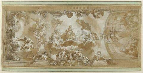 L'Assemblée des Muses présidée par Athéna et Mnémosyne