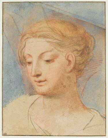 Tête de jeune femme blonde, tournée vers la gauche