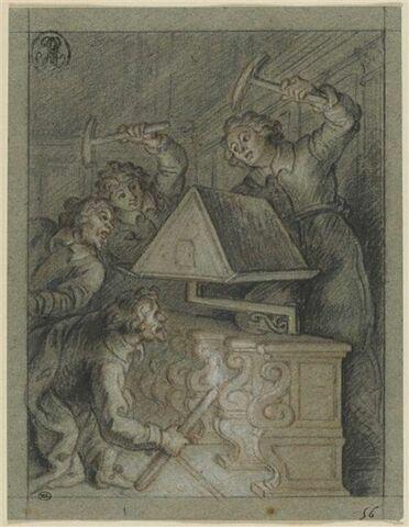 Les chantres brûlent le lutrin, illustration du Lutrin de Boileau