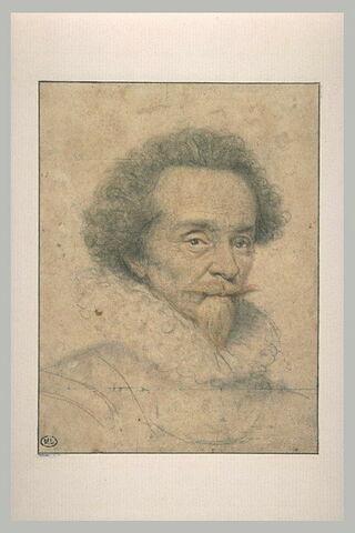 Homme portant moustaches et royale, vêtu d'une cuirasse, vu en buste