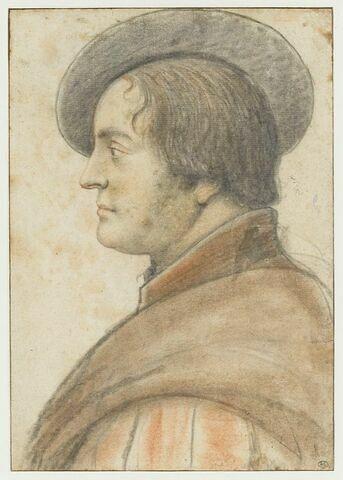 Homme en costume de la fin du XVIè s, vu en buste et de profil