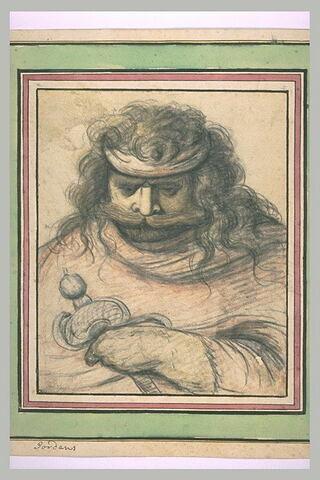 Soldat (?) portant les cheveux longs et une moustache, tenant une épée
