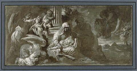 La Sainte Famille adorée par les anges