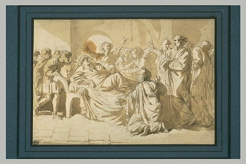 Femme mourante sur un lit, entourée de nombreuses figures