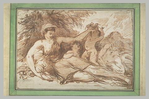 Nymphe assise au pied d'un arbre entourée de deux amours et d'un fleuve
