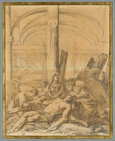 Déploration sur le Christ mort, devant un hôpital