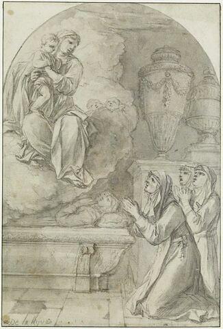 Apparition de la Vierge à l'Enfant à trois religieuses près d'un tombeau