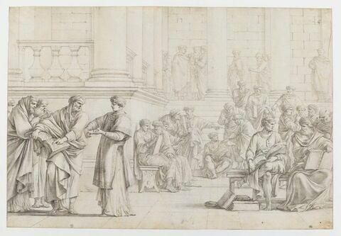 Saint Etienne discutant avec les membres des synagogues