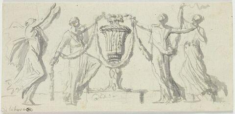 Quatre bacchantes tenant des guirlandes autour d'un vase