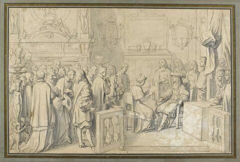 Audience accordée au cardinal Chigi par Louis XIV à Fontainebleau le 29 juillet 1664 (étude pour la tapisserie),