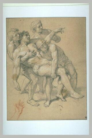 Homme demi-nu, soutenu par trois autres
