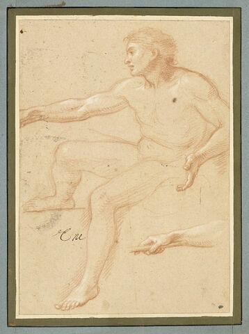 Homme nu, assis, tourné vers la gauche