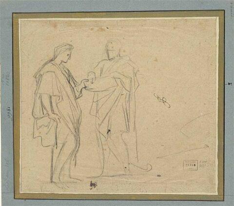 Deux hommes drapés, face à face