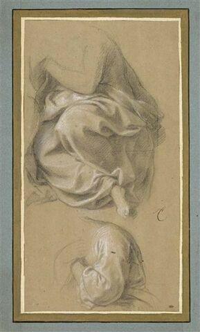 Deux draperies pour une femme de profil