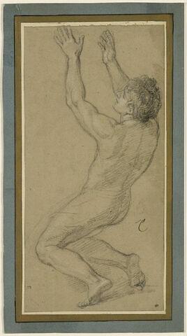 Homme nu, les deux bras levés
