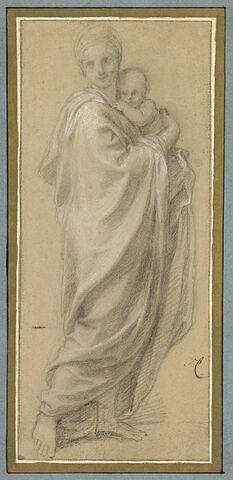 Femme drapée tenant un enfant