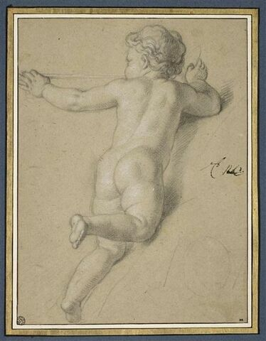 Enfant nu, volant, vu presque de dos