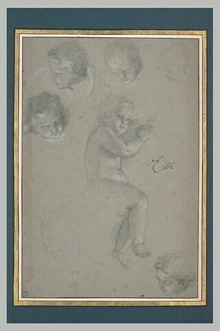 Enfant nu, de profil. Cinq têtes d'angelots