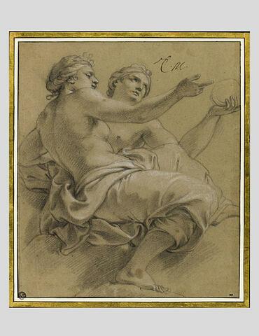 Deux femmes, assises sur des nuages