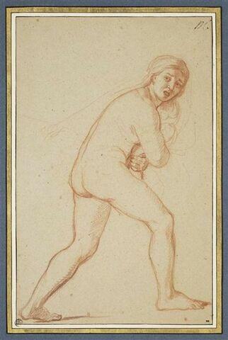 Femme nue, fuyant vers la droite