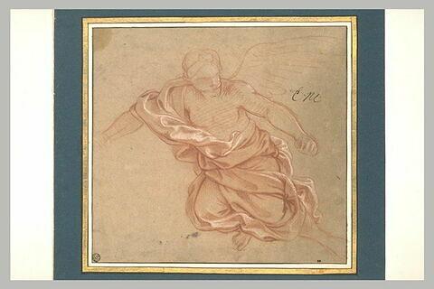 Femme ailée, drapée, volant dans les airs