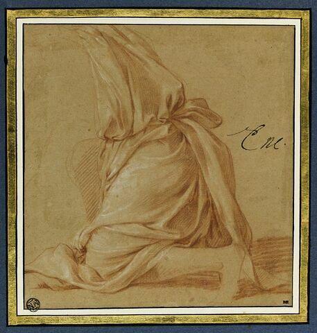 Draperie pour une figure, à genoux, de profil