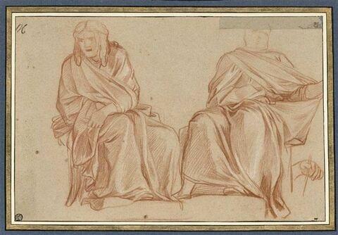 Deux hommes drapés, assis